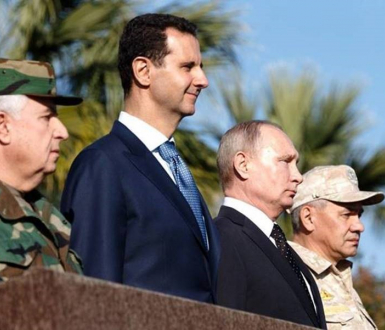 Bashar al-Assad, Vladimir Putin and Russian Defence Minister General Sergei Shoigu