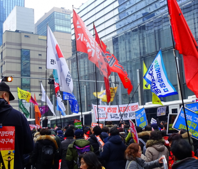 Seoul, South Korea - February 4, 2017: Hundreds of People at Gangnam calling for punishment of president Park Geun-hye and Samsung chief Lee Jae-yong