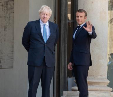 Paris, August 22, 2019 - President Macron welcoming PM Johnson