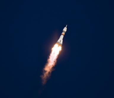 Launch of a Soyuz rocket from Baikonur cosmodrome