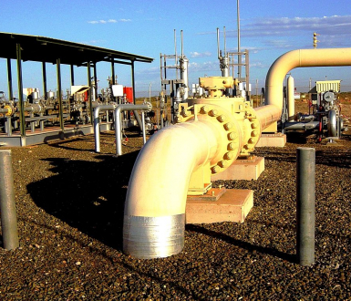 View of Dampier to Bunbury Natural Gas Pipeline at Main Line Valve station #7, near Dampier, Western Australia