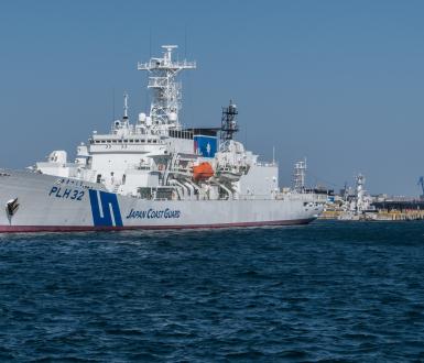 Japan Coast Guard ship at Yokohama harbor, Japan.