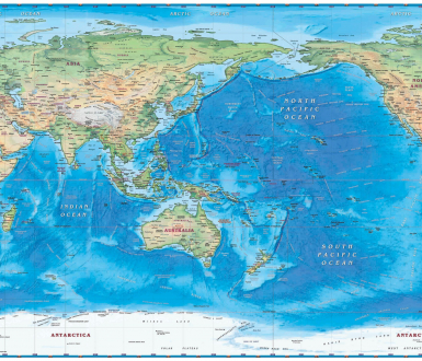 World Physical Wall Map Pacific Centered (c) Part Maps