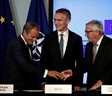 EU President Donald Tusk, NATO Secretary General Jens Stoltenberg, EU Commission President Jean-Claude Juncker