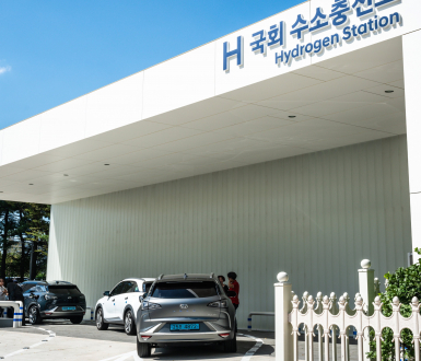 Seoul South Korea , 23 September 2019 : Hydrogen station of National Assembly in Seoul with Hyundai Nexo cars filling in South Korea