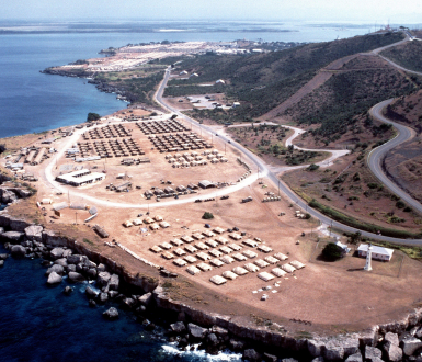Aerial view of US Naval Base, Guantanamo Bay, Cuba