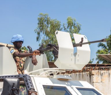 Peace keeper conduct patrol on August 21, 2014 in Bangui, Central African Republic