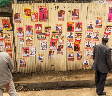 Elections 2017 au Kenya. Posters de campagne affichés dans le comté de Narok