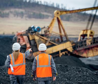 Arbeiter im Kohletagebau