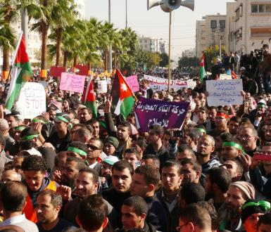 Amman, Jordanie - 11 octobre 2015 : la confrérie musulmane jordanienne manifeste contre le gouvernement pendant le printemps arabe