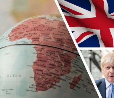 Globe tourné vers l'Afrique, drapeau du Royaume-Uni et Boris Johnson