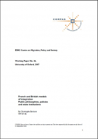 French and British models of Integration : Public Philosophies, Policies and State Institutions