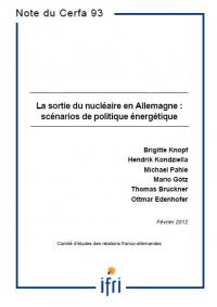 La sortie du nucléaire en Allemagne: scénarios de politique énergétique