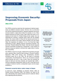 Improving Economic Security: Proposals from Japan