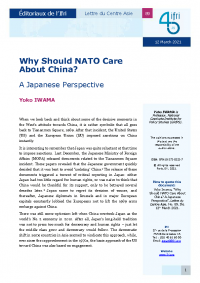 Why Should NATO Care  About China? A Japanese Perspective
