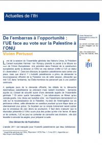 De l'embarras à l'opportunité : l'UE face au vote sur la Palestine à l'ONU
