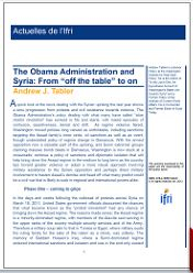 """The Obama Administration and Syria: From """"off the table"""" to on"""