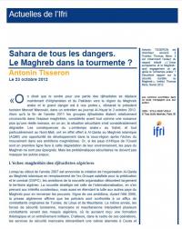 Sahara de tous les dangers. Le Maghreb dans la tourmente ?