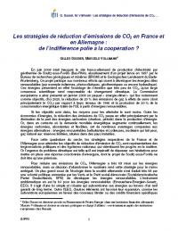 Les Stratégies de réduction d'émissions de CO² en France et en Allemagne : de l'indifférence polie à la coopération ?
