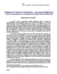 Politique de l'emploi et immigration : une responsabilité pour l'Union européenne ou la panne du moteur franco-allemand