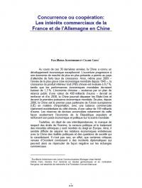 Concurrence ou coopération:  Les intérêts commerciaux de la France et de l'Allemagne en Chine