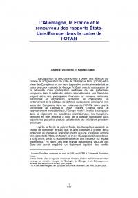 L'Allemagne, la France et le renouveau des rapports États-Unis/Europe dans le cadre de l'OTAN