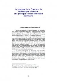 La réponse de la France et de l'Allemagne à la crise: une politique environnementale commune