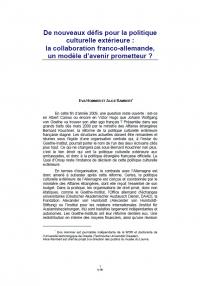 De nouveaux défis pour la politique culturelle extérieure: la collaboration franco-allemande, un modèle d'avenir prometteur?