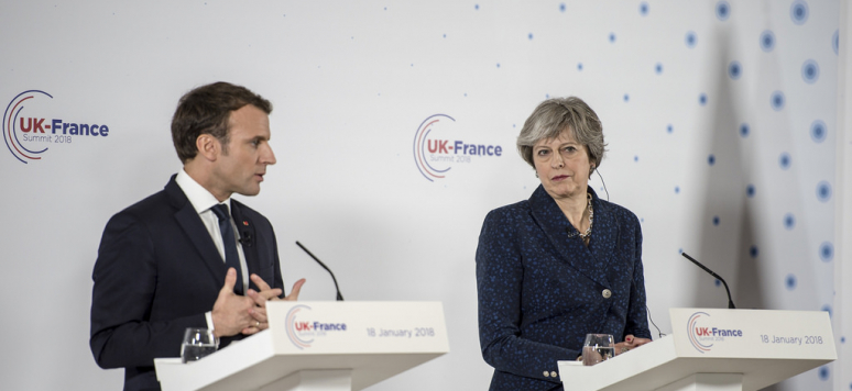 Prime Minister Theresa May welcomes France President Emmanuel Macron to the UK-France Summit, at Sandhurst.