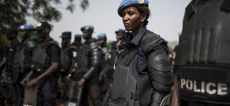 Members of a Senegalese Formed Police Unit (FPU) of the UN Multidimensional Integrated Stabilization Mission in Mali