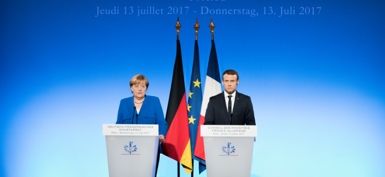 PARIS, FRANCE - JULY 13, 2017 : German Chancellor Angela Merkel with the French President Emmanuel Macron at the Elysee Palace