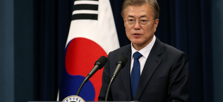 President Moon Jae-in at his 1st Press Conference. May 10, 2017. Credits: South Korean Ministry of Culture, Sports and Tourism