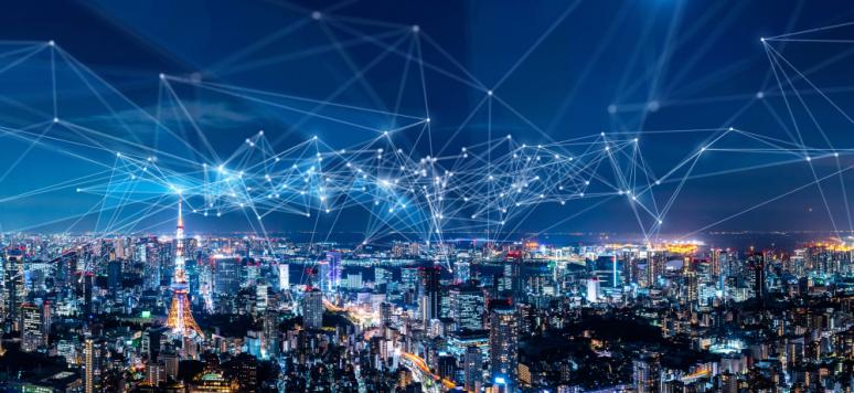 Concept de ville intelligente et de réseau de communication. © Shutterstock