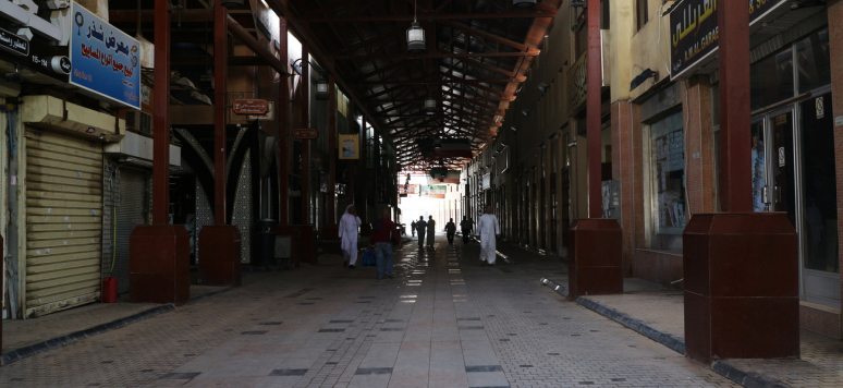 Kuwait City - April 20, 2020: Hallways of Mubarakiya Market in Kuwait city are nearly empty due to Covid-19 lockdown