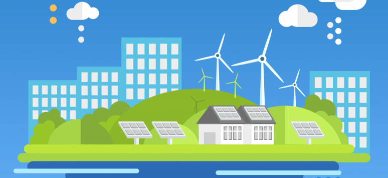 Shutterstock/Flat design concepts for ecology. Vector illustration. Ecology landscape windmills