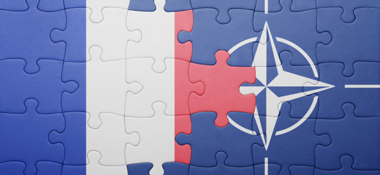 puzzle with the national flag of france and nato