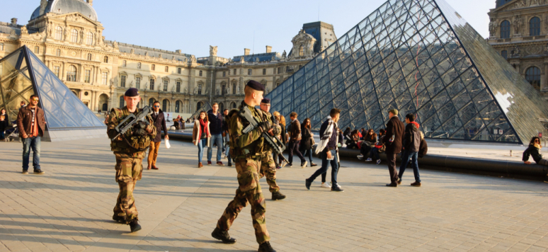 Soldiers patrolling near Louvre museum. France strengthened the measures to combat crime and terrorism.