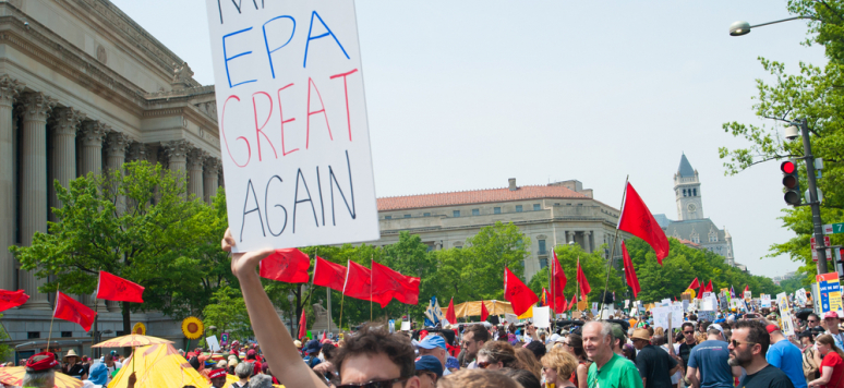 WASHINGTON APRIL 29: Protesters at the People's Climate March highlight the need to take action on climate change in Washington DC on April 29, 2017