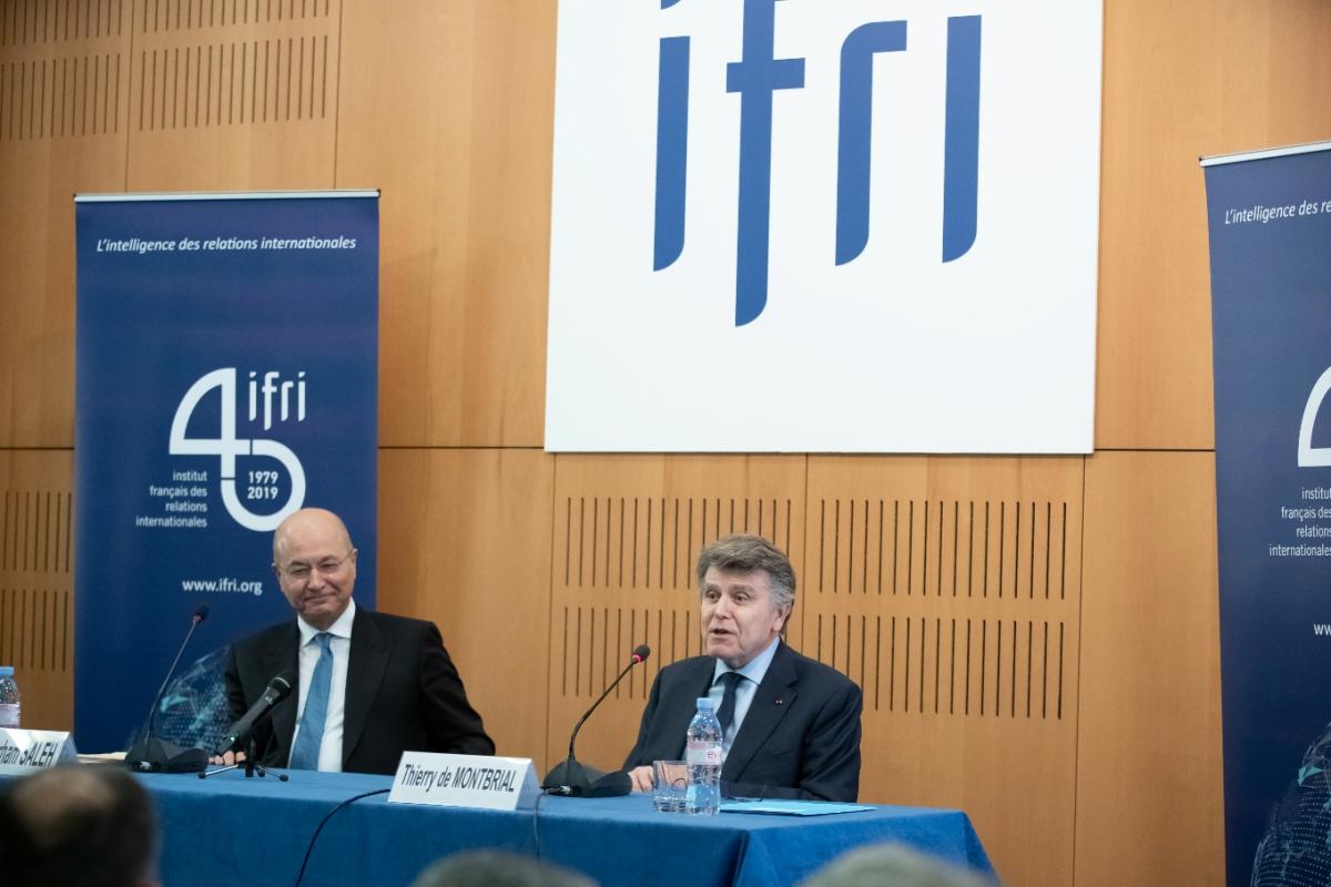 Barham Salih, Président de l'Irak, Thierry de Montbrial, président de l'Ifri, Paris, 25/02/2019