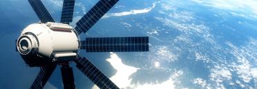 satellite réaliste en orbite terrestre basse. Rendu 3D