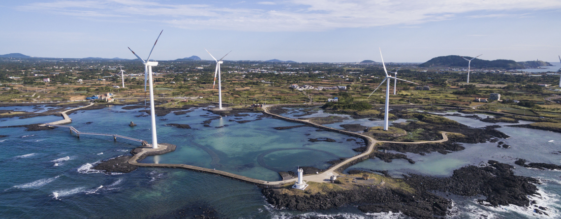 Shutterstock / Wind turbines on Juju Islands, South Korea