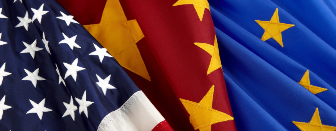 American, Chinese, and European Union Flags