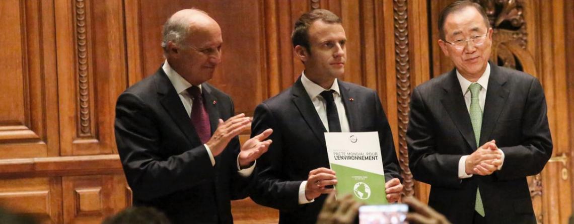 Laurent Fabius, Emmanuel Macron, Ban Ki-Moon