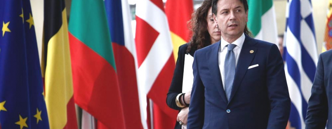 Brussels, Jun. 28, 2018.Prime Minister of Italia, Giuseppe Conte arrives for a meeting with European Union leaders.