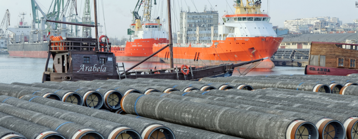 Varna, BULGARIA - November 29, 2014: Gas pipes of large diameter at Port of Varna ready for the South Stream