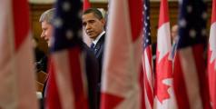 Barack Obama and Sephen Harper give a press conference