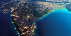 Reproduction de l'Inde et du Sri Lanka vus de nuit à partir d'images de la NASA - Anton Balazh