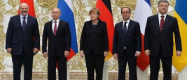 Minsk, Angela Merkel, Francois Hollande, Petro Poroshenko and Vladimir Putin are take part in the talks on a settlement to the situation in Ukraine, 11 February 2015