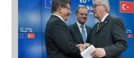 Ahmet Davutoğlu, Donald Tusk, Jean-Claude Juncker, 7/03/2016