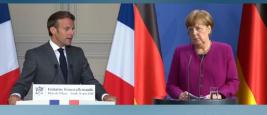 Conference de presse du President Emmanuel Macron et de la Chancelière Angela Merkel, 19 mai 2020